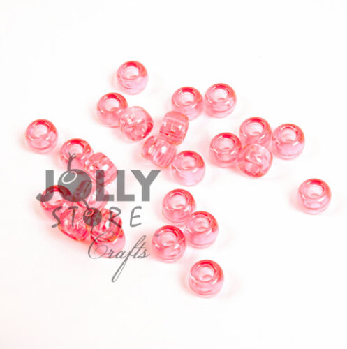 500 TRANSLUCENT PINK 9x6mm Pony Beads for school church craft hair kandi jewelry