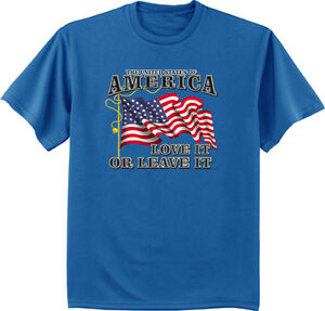 44bdac5edd2 men s big and tall t-shirt America love it or leave it USA flag ...