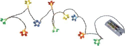 Lichterkette LED Blumen Blüten Bunt 10er Deko Licht Grün Blau Rot Gelb Batterie