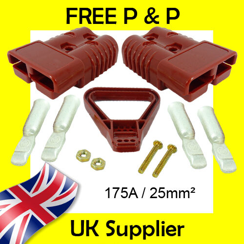 175A Battery Plug 25mm² Terminals Handle Compatible with Anderson RED 175A