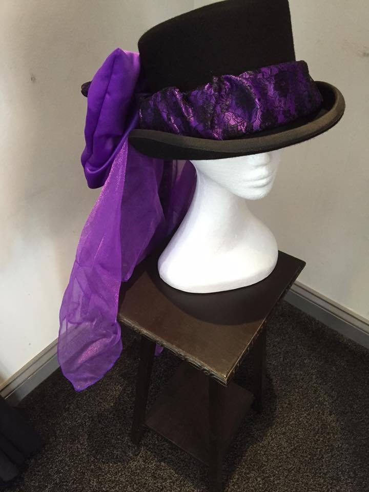 Concours d'elegance purple lace hat bow and drape , riding hat, hat accessory