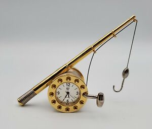 Miniature Fishing Rod & Reel Collectible Clock ~  Stunning Gold with White Face