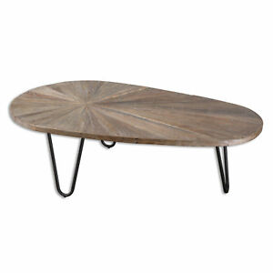 Mid-Century-Modern-Oval-Recycled-Wood-Iron-Coffee-Table-Abstract-Minimalist