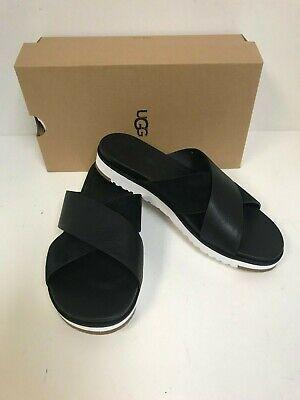 Ugg Women's Kari Sandal Black LeatherSuede Criss Cross Slide   eBay