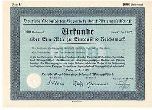 Deutsche-Wohnstaetten-Hypothekenbank-AG-Berlin-1931-Aareal-Bank-1000RM