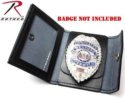 Black Genuine Leather Concealed Carry Badge Holder ID Card Men/'s Wallet