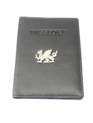 Welsh Dragon Real Leather Passport Holder Black Or Burgundy RFID Travel Gift 391