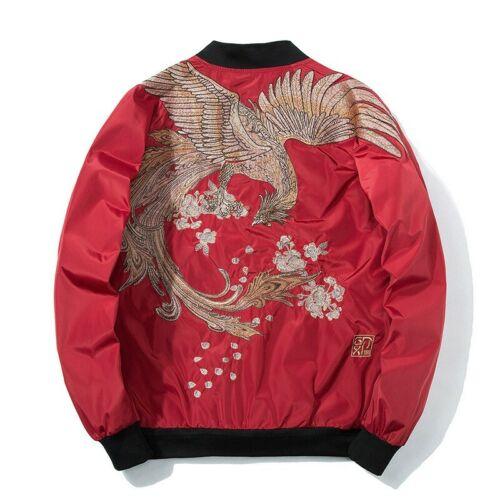 Men/'s Sukajan Bomber Jacket Japanese Embroidery BF Reversible Fall Winter Coat