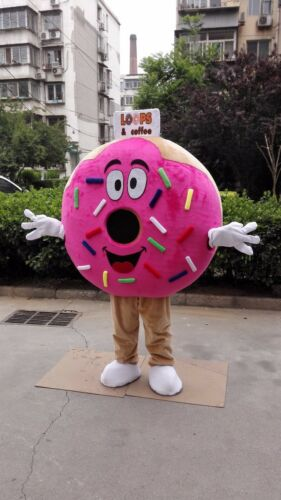 Pink Donut Mascot Costume Suits Cosplay Party Game Fancy Dress Outfits Advertis