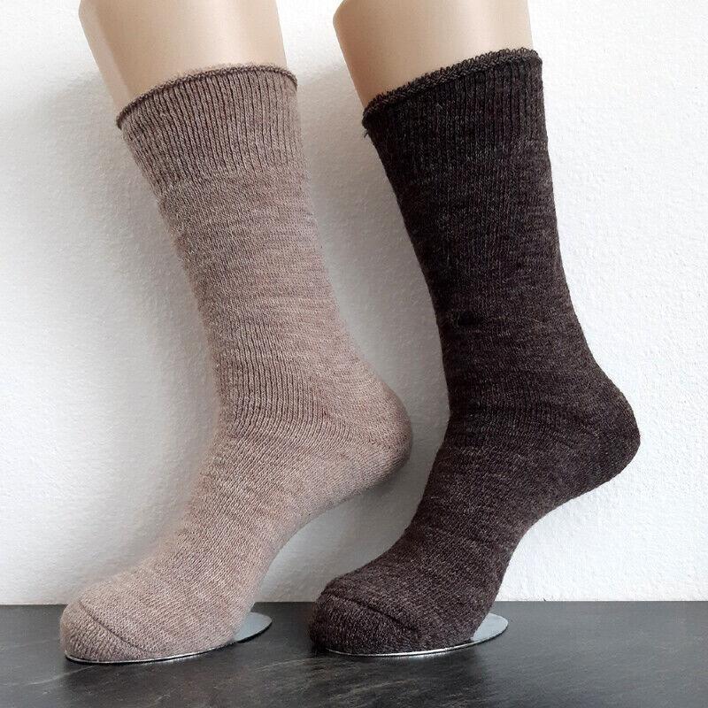 2 Paar Damen Alpaka Thermo Socken extra warm 100% Wolle Braun / Beige 35 bis 42