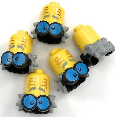 Lego 5 New Yellow Minifigs Headgear Extended Head Eyebrows Wrinkles Blue Googles