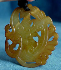 Vintage or Antique Chinese Hand Carved Translucent Russet Jade Pendant Necklace