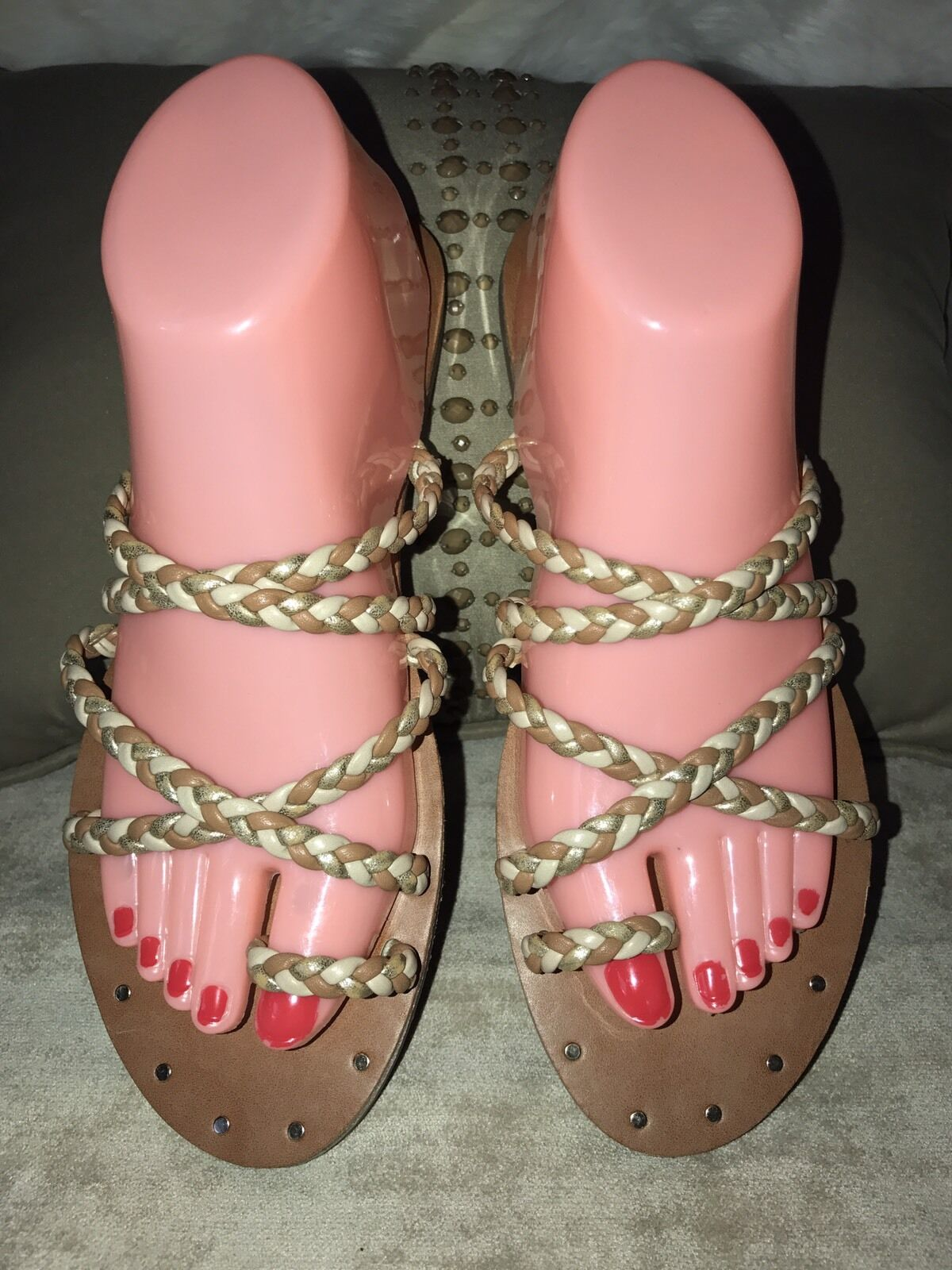 Mossimo Toe Ring Strappy Braided Flat Size Sandals Women Two Tone Size Flat 8.5 New 58c7d0