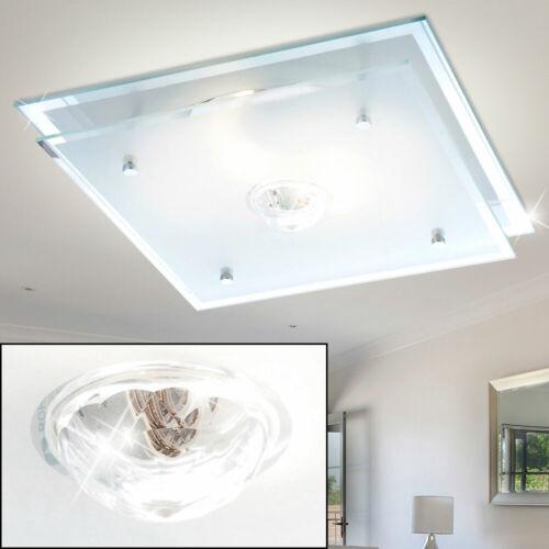 Decken Glas Lampe Kristall Leuchte Design Flur Beleuchtung eckig Chrom Strahler