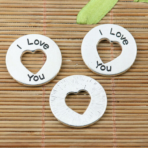 5pcs tibetan silver color round shaped 24mm love charms EF2232