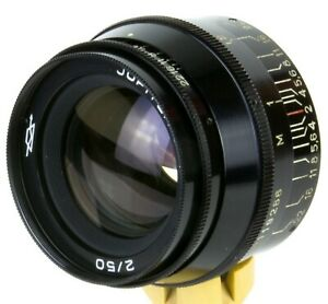 Jupiter-8-50mm-f-2-Lens-M39-Camera-Leica-FED-Zorki-black-cap-hood-Rare-finish