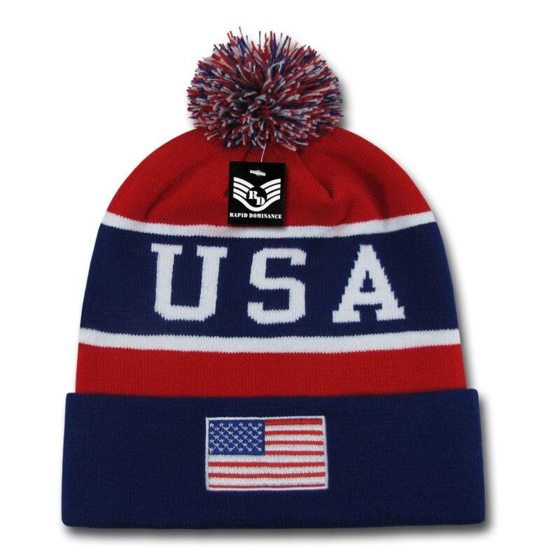 Usa Flagge America Mütze Mit Pom Pom Strick Uhr Hut Mützen Winter