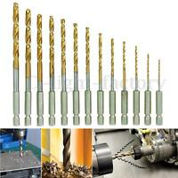13pcs HSS HIGH SPEED STEEL DRILL BIT SET HEX SHANK BITS TITANIUM COATED DEL