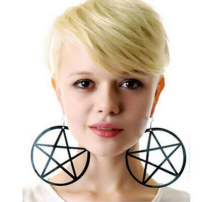 9CM Punk Large Pentagram Earrings Large Hoop Pentacle Gothic Ear Stud Hot Sale