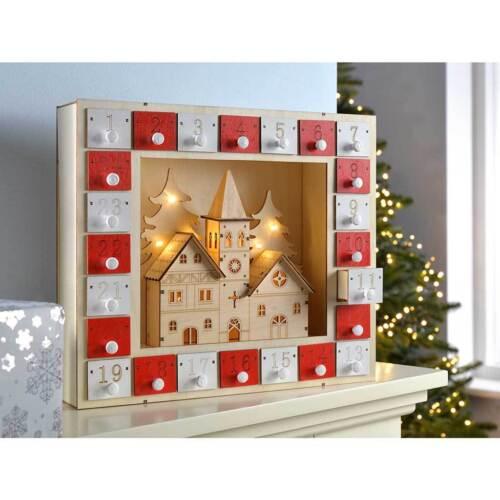 Pre-Lit Wooden Church House Scene Advent Calendar Christmas Decoration