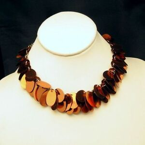 Vintage-Collar-Necklace-Shimmery-Copper-Colored-Discs-Stylish-Light-Weight