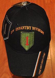 a86d397b040 Black 1st First Infantry Division Army Hat Baseball Ball Cap Veteran ...