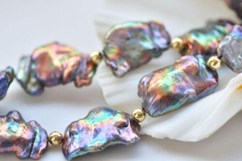 D0405 Peacock-Noir Baroque reborn Keshi Perle Collier Bracelet Boucle d/'Oreille Zircon Cubique