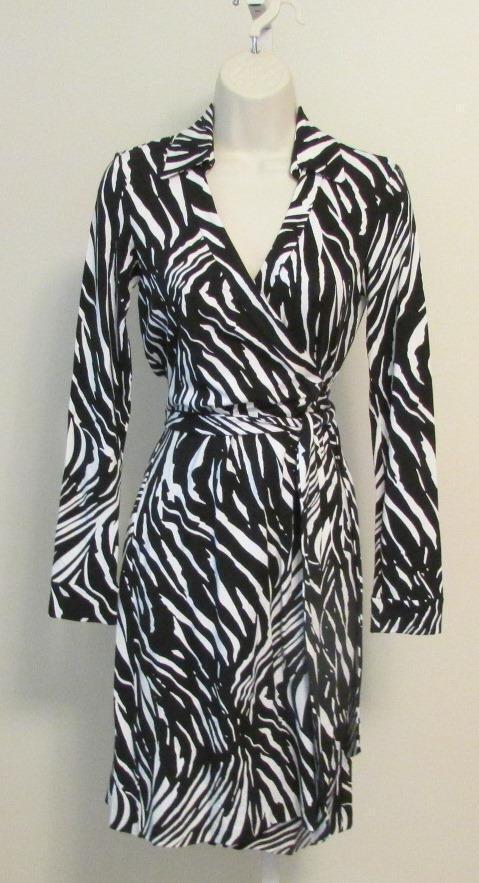 Diane von Furstenberg New Jeanne Two Tiger Shadow schwarz Weiß 0 wrap dress DVF