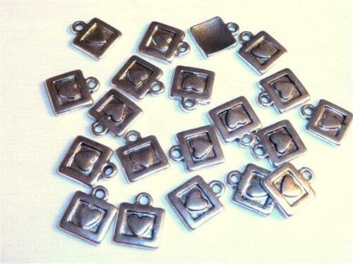 10mm LITTLE HEARTS C124...PACK OF 40 ANTIQUED SILVER CHARMS
