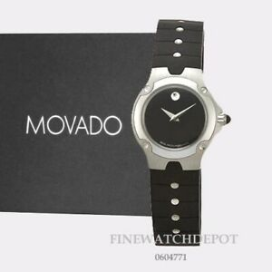 a0f04c9c7 Image is loading Authentic-Movado-Womens-Black-Museum-Dial-Rubber-Strap-