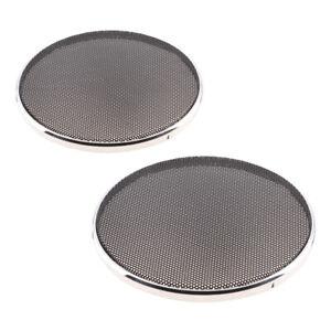 2Pcs Speaker Decorative Circle Black Protective Cover Grille Mesh 6.5+5inch
