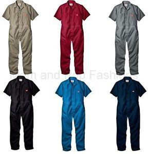 1703655dcc Mens DICKIES  33999 Short Sleeve COVERALLS Black Red Grey Khaki Blue ...