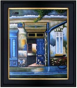Framed-Storefronts-in-Blue-Hand-Painted-Oil-Painting-20x24in