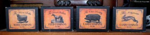 Pig Bunny Horse Sheep Advertising Cupboard Tucks Shelf Sitter Blocks Set of 4