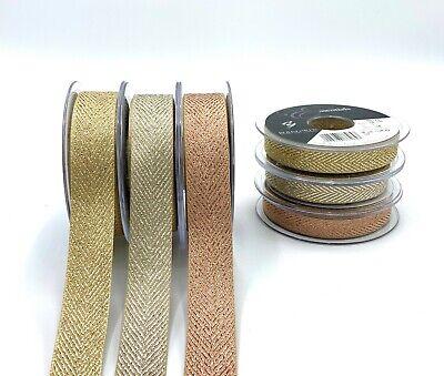 Craft Ribbon Rose Gold Metallic Glitter Chevron Zig Zag Woven 1M Berisfords