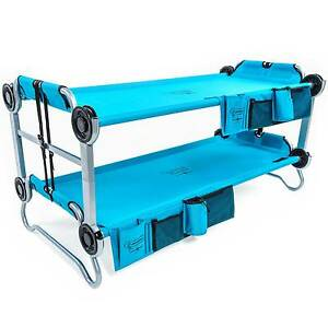 Disc-O-Bed-Youth-Kid-O-Bunk-Benchable-Camping-Cot-with-Organizers-Teal-Blue