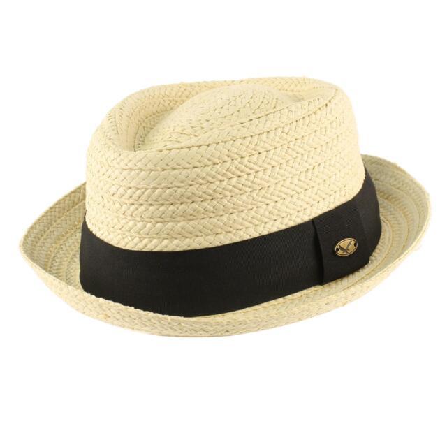 Men's Summer Braid Straw Pork Pie Derby Fedora Upturn Brim Hat
