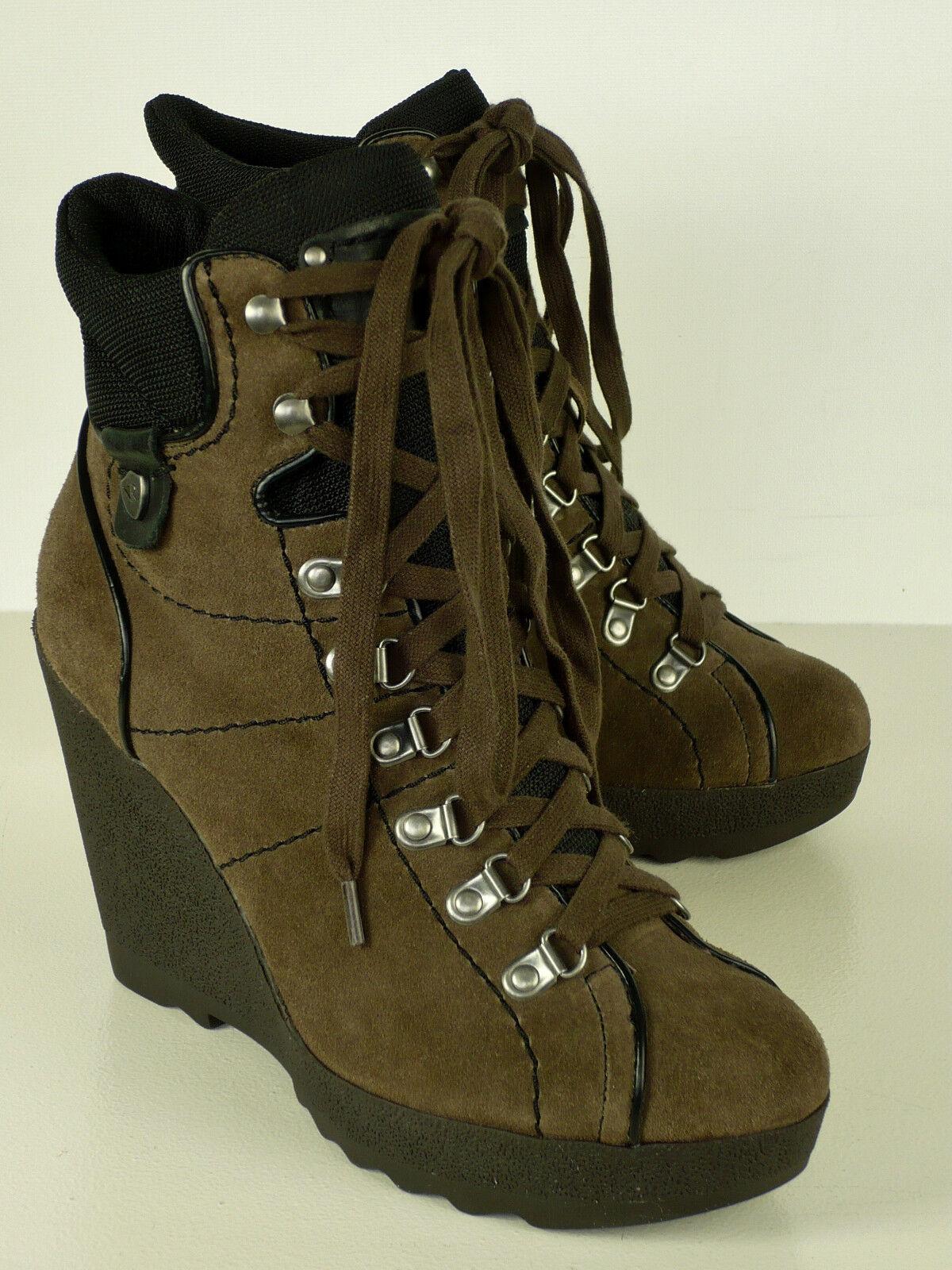 REPLAY Stiefelette Hiking style NEU  ECHTLEDER braun ECHTLEDER  Gr 38 Wedges Schnürung boot a2813b