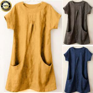 Summer-Women-Casual-Solid-Short-Sleeve-Tee-Shirt-Loose-Tunic-Tops-Blouse-T-Shirt