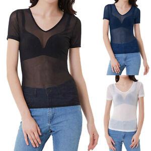 Summer-Womens-V-Neck-Short-Sleeve-Seamless-Tee-Tops-Sheer-Mesh-T-Shirt-Blouse-US