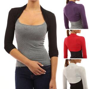 Womens-Long-Sleeve-Solid-Bolero-Shrug-Ladies-Cropped-Cardigan-Crop-Tops-Sweater