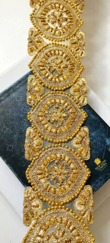 1 Meter Latest Indian Designer Cutwork lace Gold Bead work Lace Trim boarder