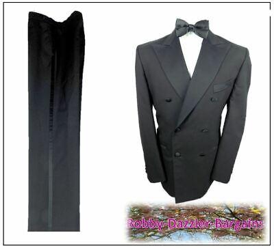 """Romantico Armando Da Uomo Doppio Petto Nero Cena Smoking Suit Ch40""""r W34"""" L30"""" Prom Ball-mostra Il Titolo Originale Avere Uno Stile Nazionale Unico"""