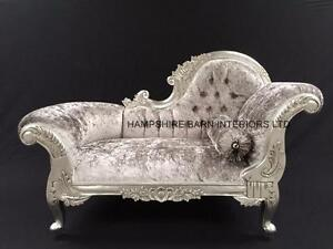 Image Is Loading Small French Chaise Longue Silver Leaf Mercury Grey