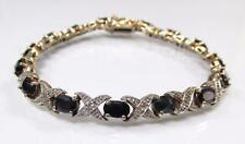 GP Sterling Silver Diamonds & Sapphires Tennis Bracelet ~ 15.7 grams~ 8-B8726