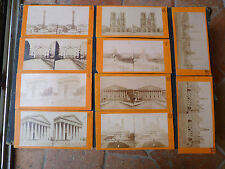 Vues lot 10 cartes vues  stereoscope PARIS 1860/1880 monuments parisiens France