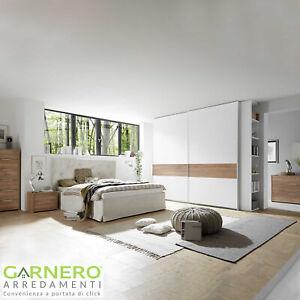 Dettagli su Camera completa ALPACA bianco noce letto comodini armadio ante  scorrevoli design