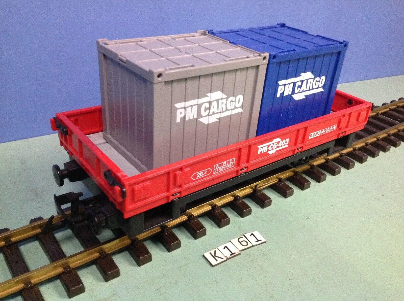 (K161) playmobil Wagon porte contener PM cargo rot ref 4126 train 5258