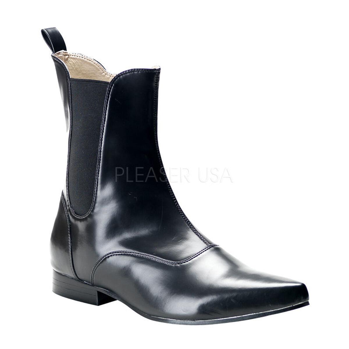 Demonia Brogue-02 Black Winklepicker Beatle Chelsea Elasic Zip Mens Ankle Boots