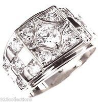 6mm 1.45 Ct April Clear Cz Birthstone Rhodium Men Ring Fashion Jewelry Size 8-15